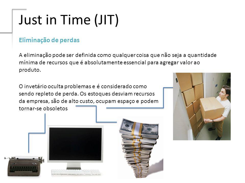 Just in Time (JIT) Eliminação de perdas A eliminação pode ser definida como qualquer coisa que não seja a quantidade mínima de recursos que é absoluta
