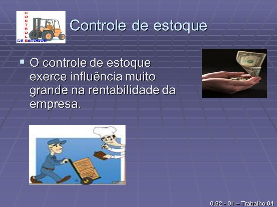 Controle de estoque O controle de estoque exerce influência muito grande na rentabilidade da empresa. O controle de estoque exerce influência muito gr