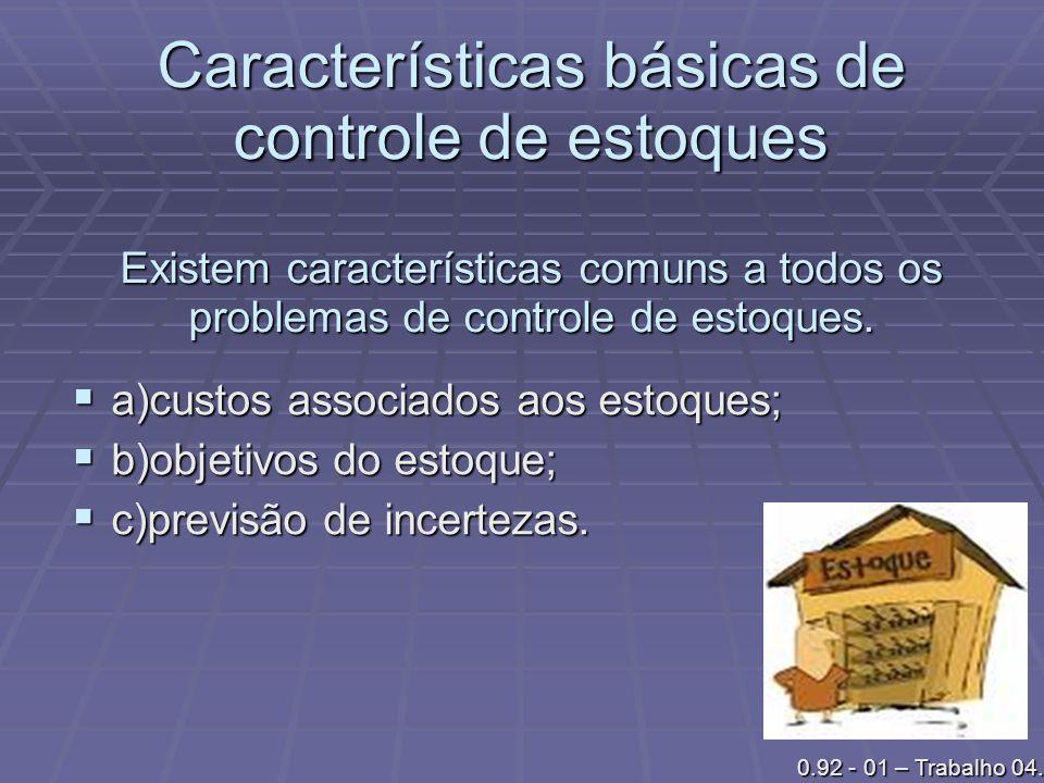 Características básicas de controle de estoques Existem características comuns a todos os problemas de controle de estoques. a)custos associados aos e