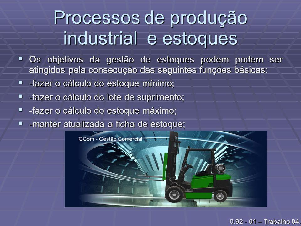Processos de produção industrial e estoques Os objetivos da gestão de estoques podem podem ser atingidos pela consecução das seguintes funções básicas