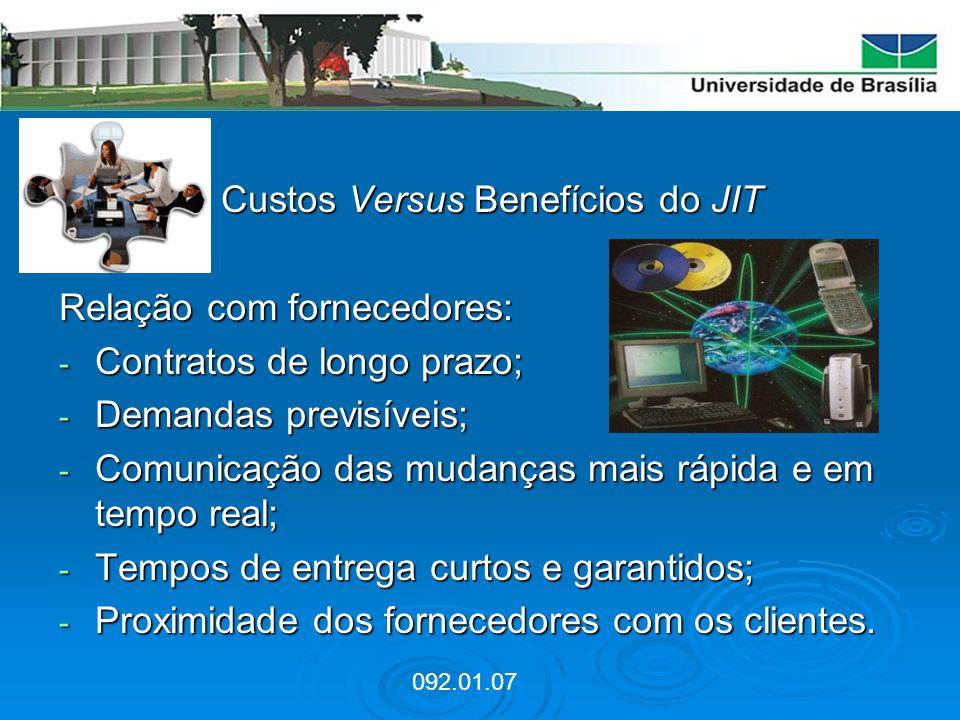 Custos Versus Benefícios do JIT Relação com fornecedores: - Contratos de longo prazo; - Demandas previsíveis; - Comunicação das mudanças mais rápida e