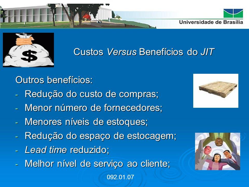 Custos Versus Benefícios do JIT Custos Versus Benefícios do JIT Outros benefícios: - Redução do custo de compras; - Menor número de fornecedores; - Me
