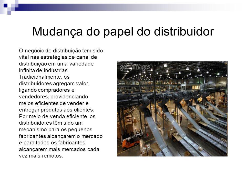 Mudança do papel do distribuidor O negócio de distribuição tem sido vital nas estratégias de canal de distribuição em uma variedade infinita de indúst