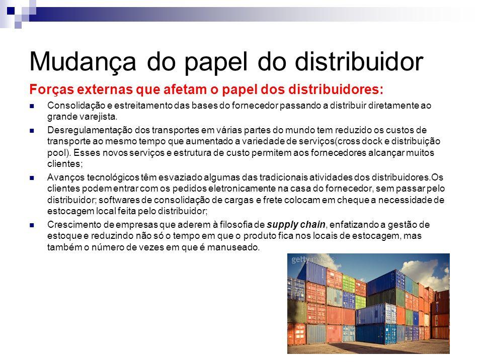 Mudança do papel do distribuidor Forças externas que afetam o papel dos distribuidores: Consolidação e estreitamento das bases do fornecedor passando