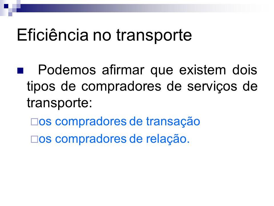 Eficiência no transporte Podemos afirmar que existem dois tipos de compradores de serviços de transporte: os compradores de transação os compradores d