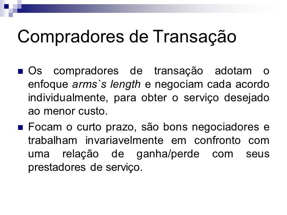 Compradores de Transação Os compradores de transação adotam o enfoque arms`s length e negociam cada acordo individualmente, para obter o serviço desej