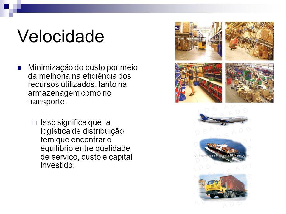 Velocidade Minimização do custo por meio da melhoria na eficiência dos recursos utilizados, tanto na armazenagem como no transporte. Isso significa qu