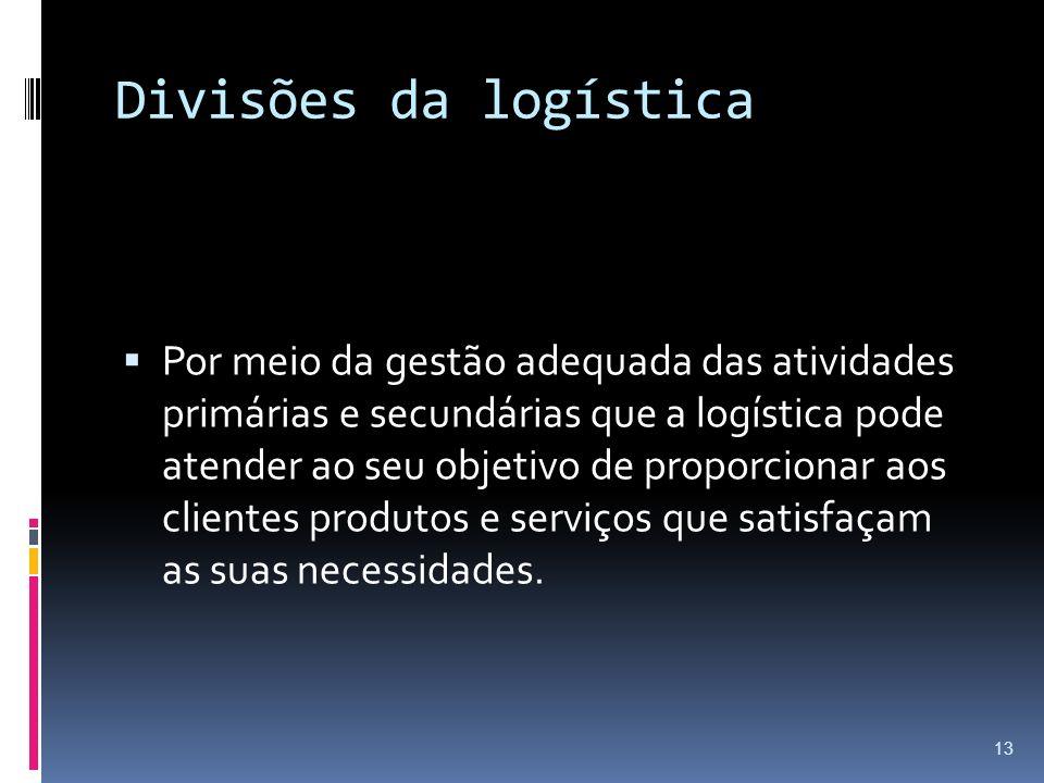 Divisões da logística Por meio da gestão adequada das atividades primárias e secundárias que a logística pode atender ao seu objetivo de proporcionar