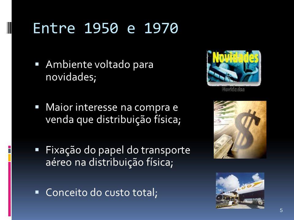 Entre 1950 e 1970 Ambiente voltado para novidades; Maior interesse na compra e venda que distribuição física; Fixação do papel do transporte aéreo na