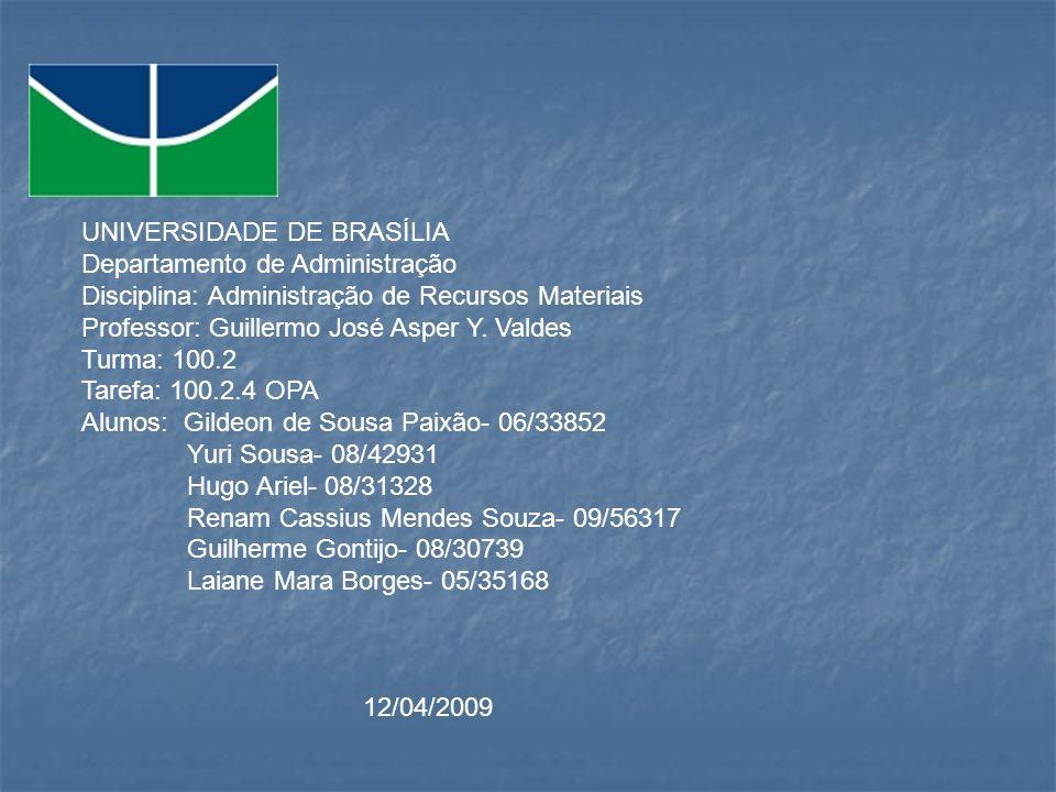 UNIVERSIDADE DE BRASÍLIA Departamento de Administração Disciplina: Administração de Recursos Materiais Professor: Guillermo José Asper Y. Valdes Turma
