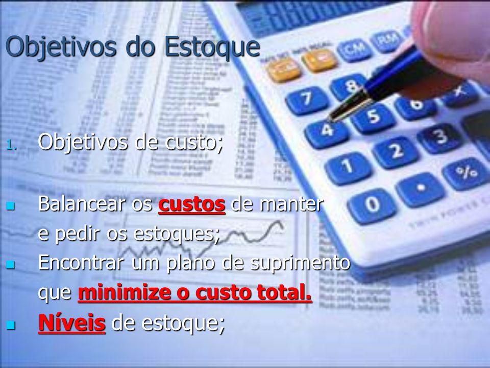 Objetivos do Estoque 1. Objetivos de custo; Balancear os custos de manter Balancear os custos de manter e pedir os estoques; e pedir os estoques; Enco