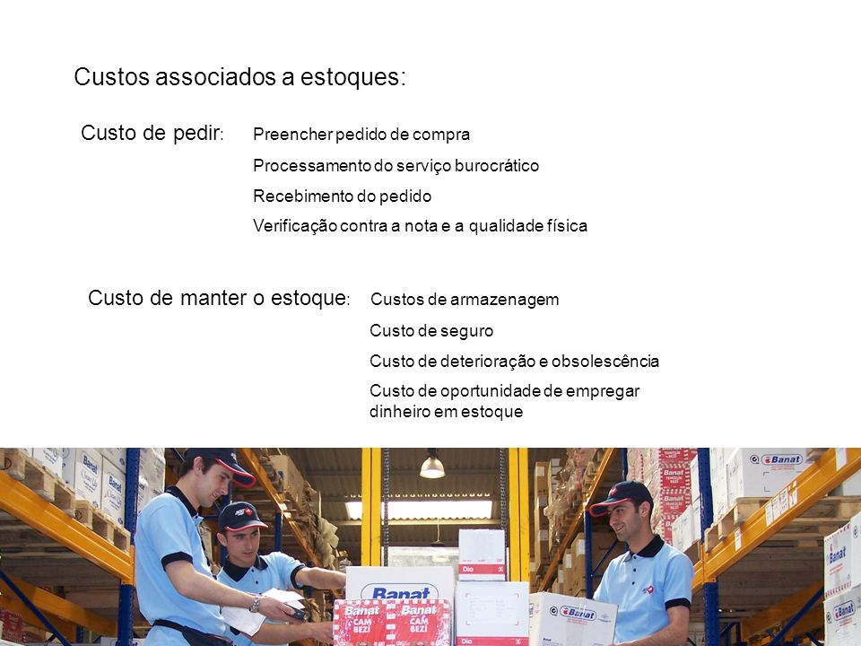 Custos associados a estoques: Custo de pedir :Preencher pedido de compra Processamento do serviço burocrático Recebimento do pedido Verificação contra