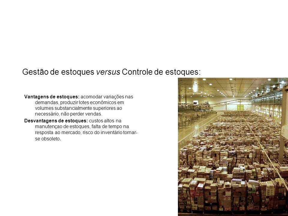 Gestão de estoques versus Controle de estoques: Vantagens de estoques: acomodar variações nas demandas, produzir lotes econômicos em volumes substanci