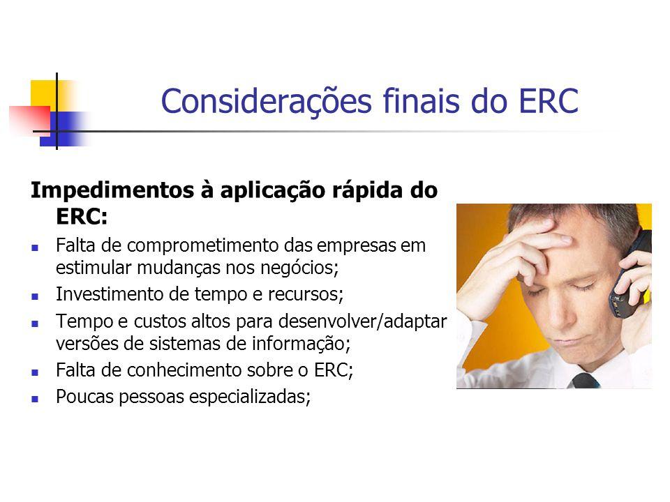 Considerações finais do ERC Impedimentos à aplicação rápida do ERC: Falta de comprometimento das empresas em estimular mudanças nos negócios; Investim