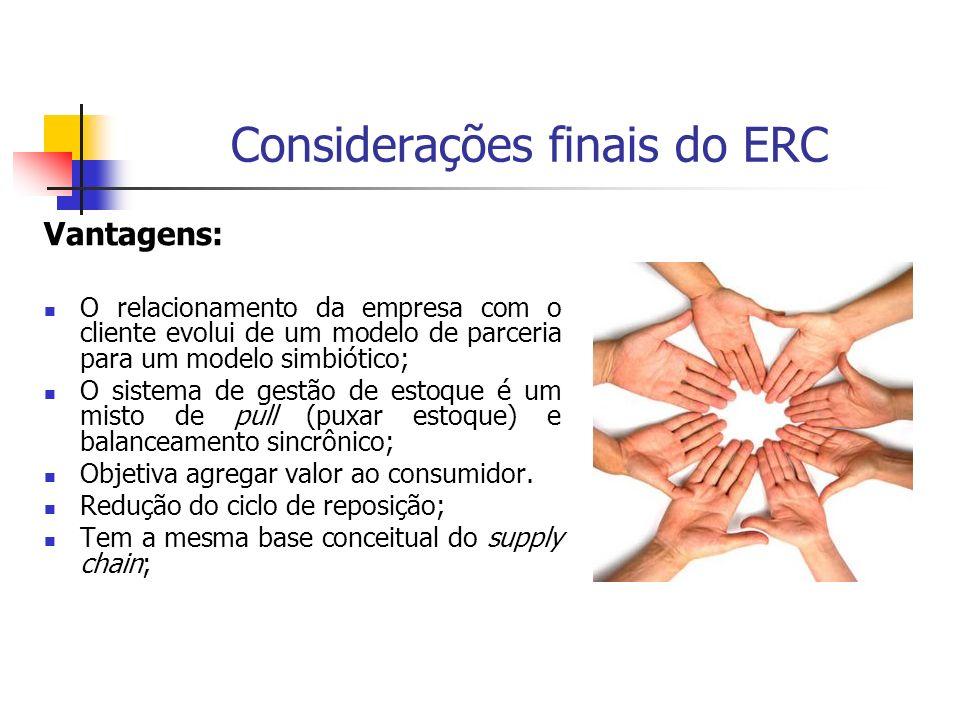 Considerações finais do ERC Vantagens: O relacionamento da empresa com o cliente evolui de um modelo de parceria para um modelo simbiótico; O sistema