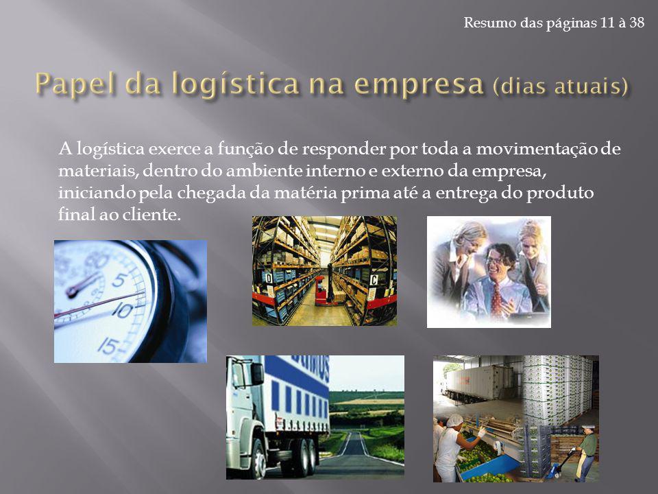 Resumo das páginas 11 à 38 A logística exerce a função de responder por toda a movimentação de materiais, dentro do ambiente interno e externo da empr