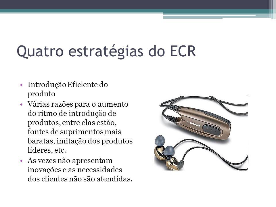 Quatro estratégias do ECR Introdução Eficiente do produto Várias razões para o aumento do ritmo de introdução de produtos, entre elas estão, fontes de