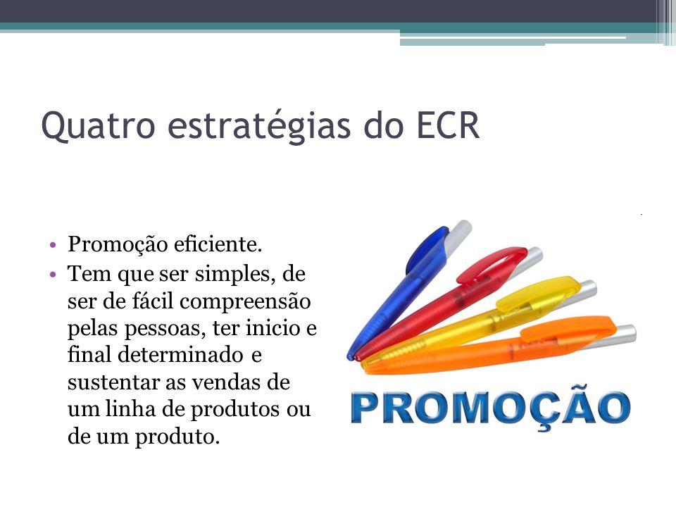 Quatro estratégias do ECR Promoção eficiente. Tem que ser simples, de ser de fácil compreensão pelas pessoas, ter inicio e final determinado e sustent