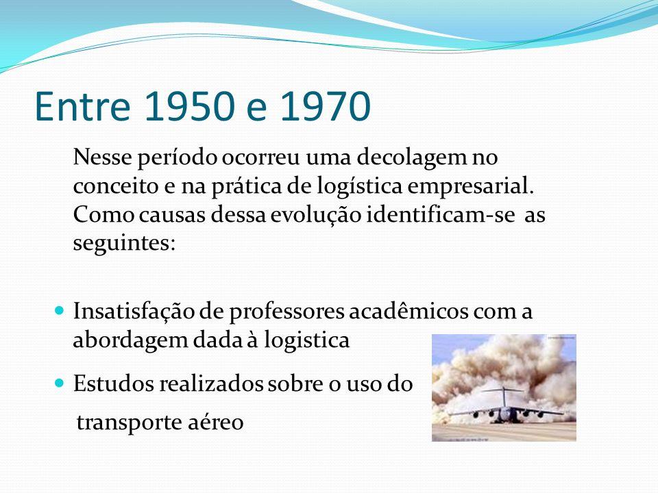 Entre 1950 e 1970 Nesse período ocorreu uma decolagem no conceito e na prática de logística empresarial. Como causas dessa evolução identificam-se as