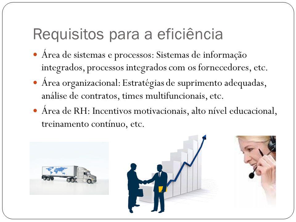 Requisitos para a eficiência Área de sistemas e processos: Sistemas de informação integrados, processos integrados com os fornecedores, etc. Área orga