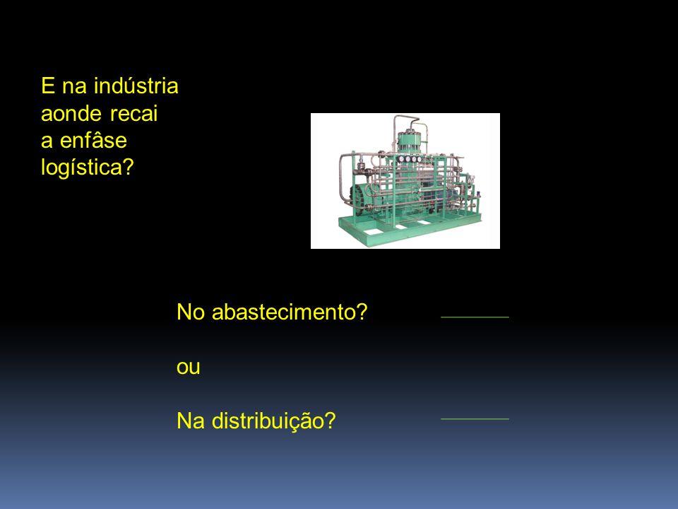 E na indústria aonde recai a enfâse logística? No abastecimento? ou Na distribuição?