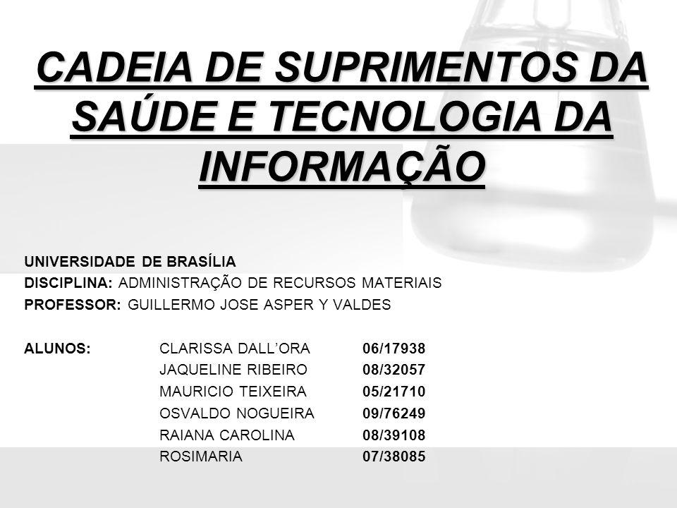 CADEIA DE SUPRIMENTOS DA SAÚDE E TECNOLOGIA DA INFORMAÇÃO UNIVERSIDADE DE BRASÍLIA DISCIPLINA: ADMINISTRAÇÃO DE RECURSOS MATERIAIS PROFESSOR: GUILLERM