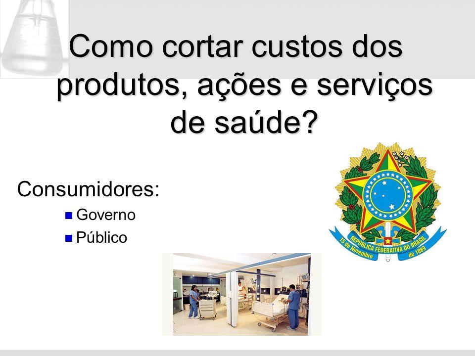 Como cortar custos dos produtos, ações e serviços de saúde? Consumidores: Governo Público