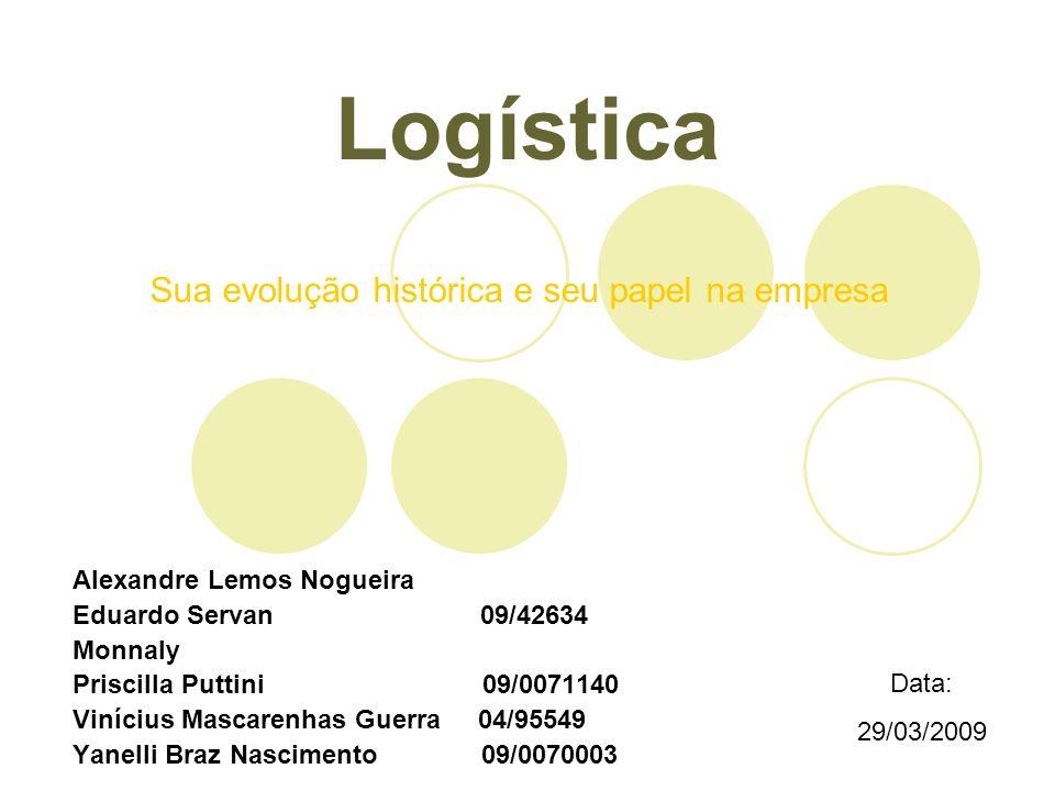 Logística Alexandre Lemos Nogueira Eduardo Servan 09/42634 Monnaly Priscilla Puttini 09/0071140 Vinícius Mascarenhas Guerra 04/95549 Yanelli Braz Nasc