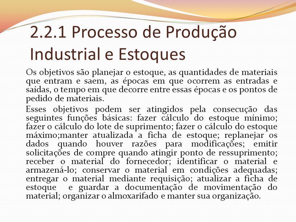 2.2.1 Processo de Produção Industrial e Estoques Os objetivos são planejar o estoque, as quantidades de materiais que entram e saem, as épocas em que