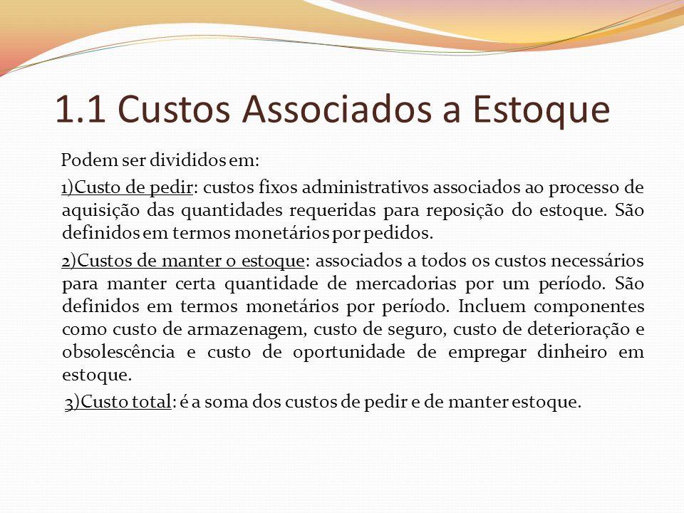 1.1 Custos Associados a Estoque Podem ser divididos em: 1)Custo de pedir: custos fixos administrativos associados ao processo de aquisição das quantid