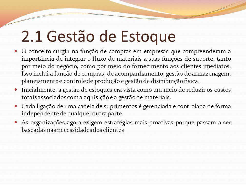 2.1 Gestão de Estoque O conceito surgiu na função de compras em empresas que compreenderam a importância de integrar o fluxo de materiais a suas funçõ