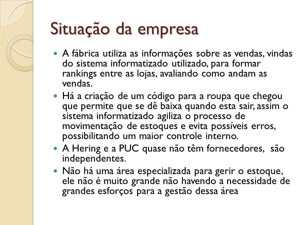 Situação da empresa A fábrica utiliza as informações sobre as vendas, vindas do sistema informatizado utilizado, para formar rankings entre as lojas,
