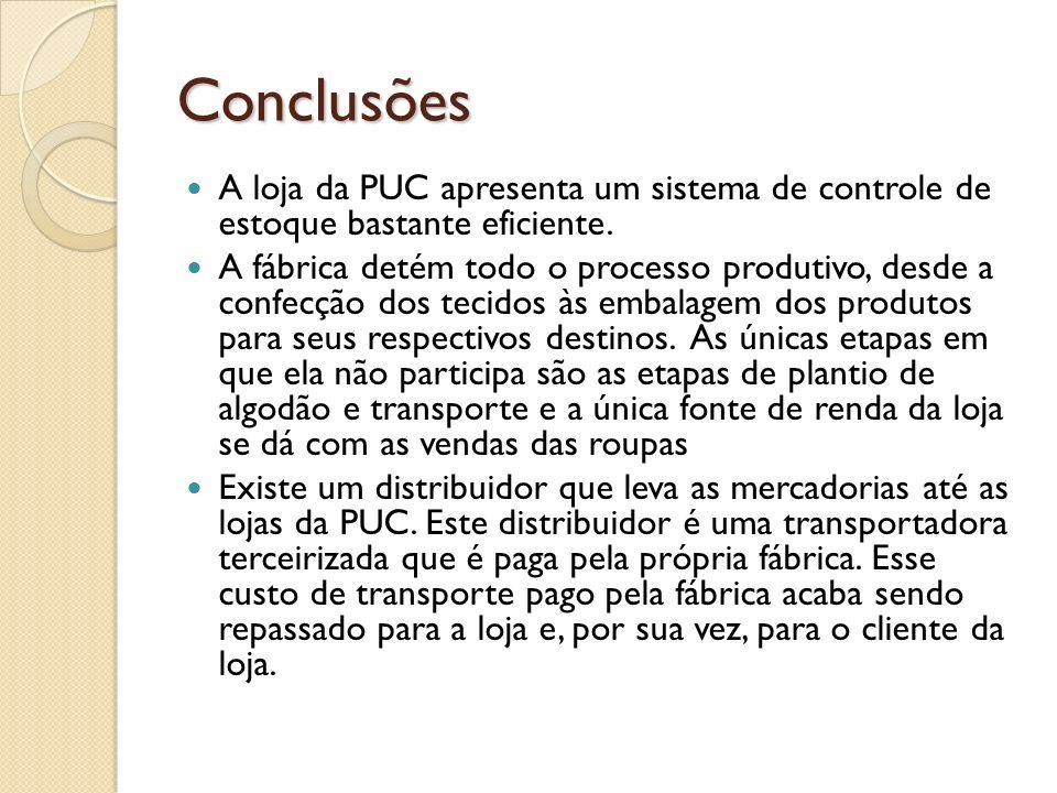 Conclusões A loja da PUC apresenta um sistema de controle de estoque bastante eficiente. A fábrica detém todo o processo produtivo, desde a confecção