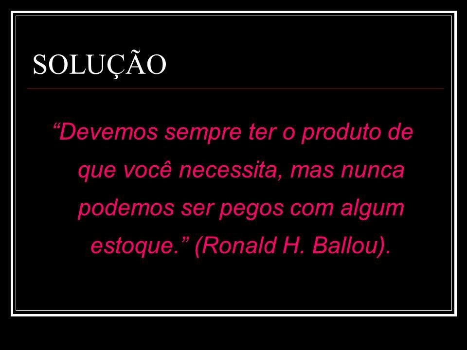 SOLUÇÃO Devemos sempre ter o produto de que você necessita, mas nunca podemos ser pegos com algum estoque. (Ronald H. Ballou).