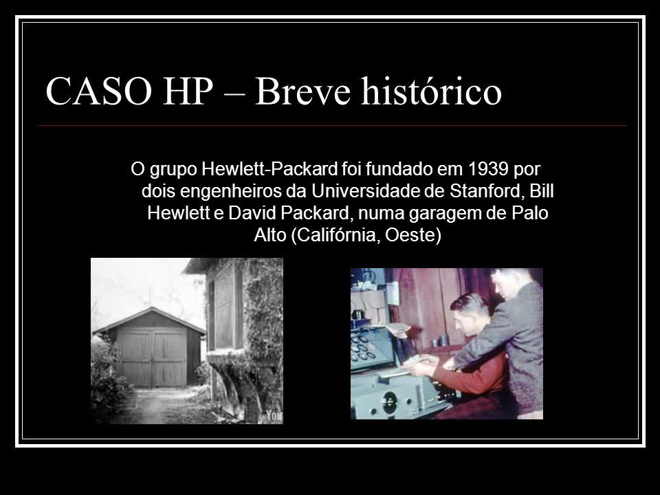 CASO HP – Breve histórico O grupo Hewlett-Packard foi fundado em 1939 por dois engenheiros da Universidade de Stanford, Bill Hewlett e David Packard,