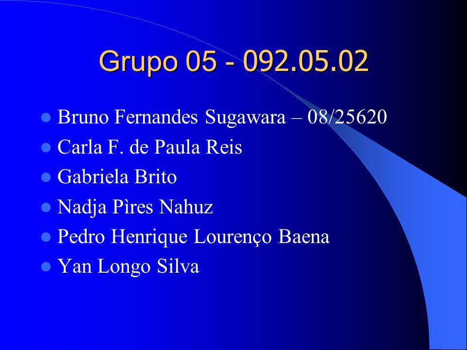 Grupo 05 - 092.05.02 Bruno Fernandes Sugawara – 08/25620 Carla F. de Paula Reis Gabriela Brito Nadja Pìres Nahuz Pedro Henrique Lourenço Baena Yan Lon