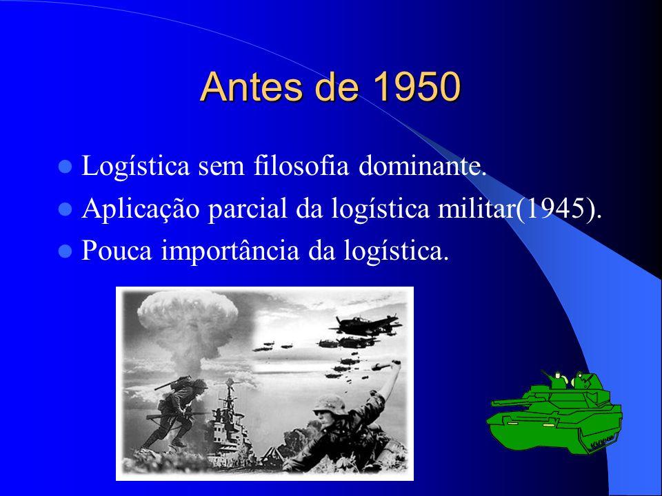 Antes de 1950 Logística sem filosofia dominante. Aplicação parcial da logística militar(1945). Pouca importância da logística.