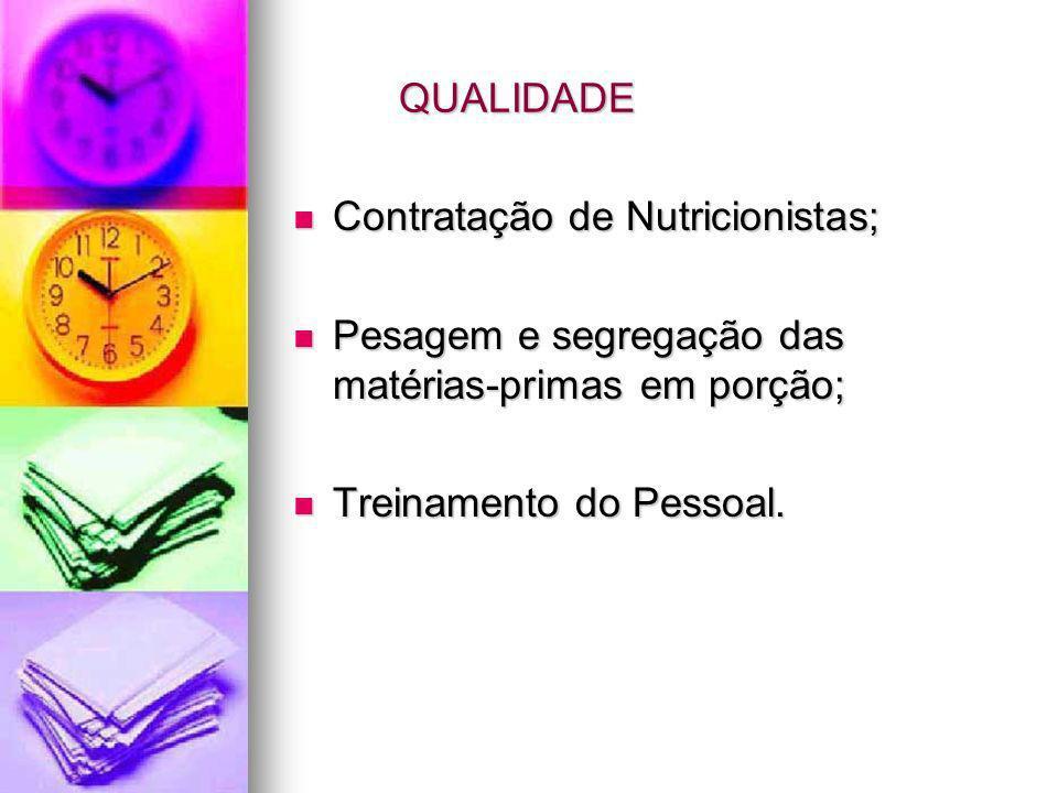QUALIDADE Contratação de Nutricionistas; Contratação de Nutricionistas; Pesagem e segregação das matérias-primas em porção; Pesagem e segregação das m
