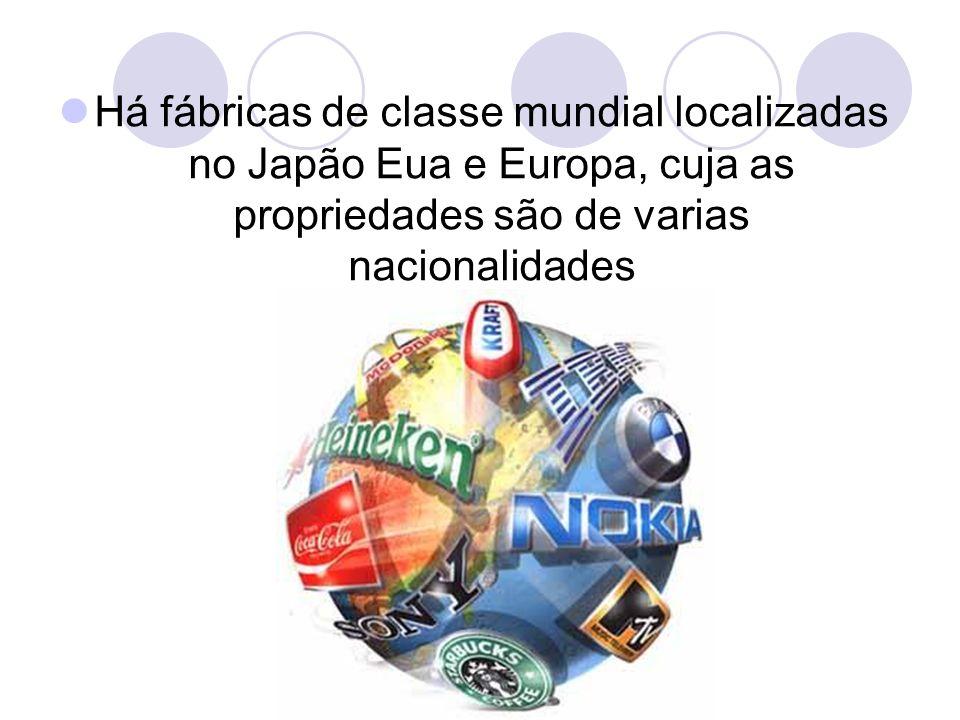 Há fábricas de classe mundial localizadas no Japão Eua e Europa, cuja as propriedades são de varias nacionalidades
