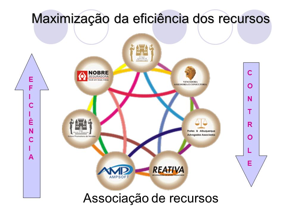 Maximização da eficiência dos recursos Associação de recursos CONTROLECONTROLE EFICIÊNCIAEFICIÊNCIA