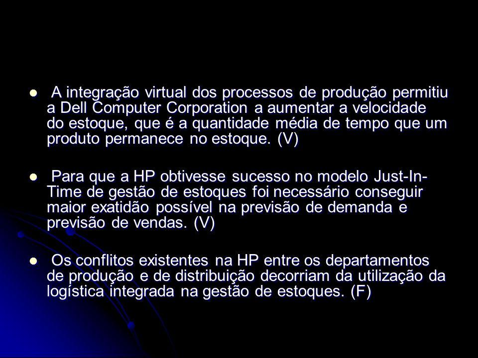 A integração virtual dos processos de produção permitiu a Dell Computer Corporation a aumentar a velocidade do estoque, que é a quantidade média de te