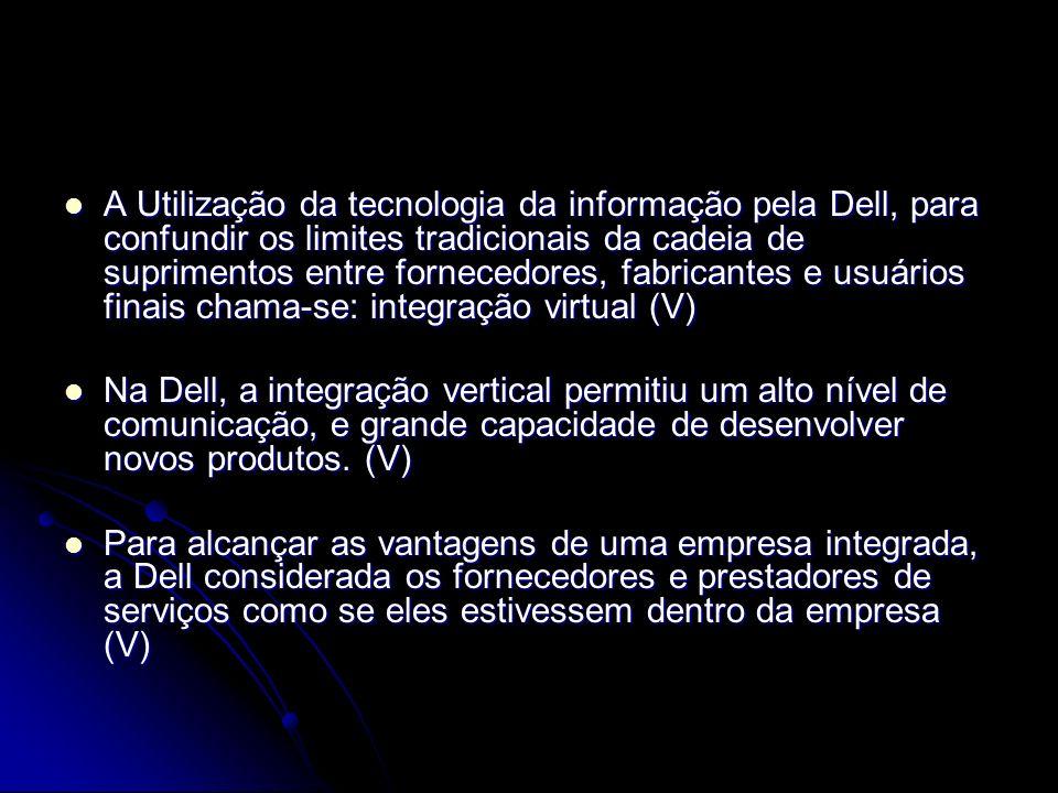 A Utilização da tecnologia da informação pela Dell, para confundir os limites tradicionais da cadeia de suprimentos entre fornecedores, fabricantes e