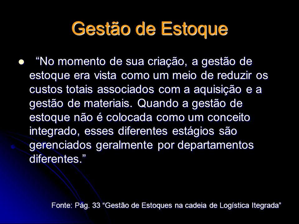 Gestão de Estoque No momento de sua criação, a gestão de estoque era vista como um meio de reduzir os custos totais associados com a aquisição e a ges
