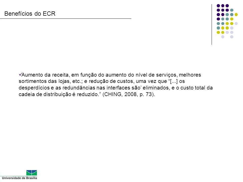 Benefícios do ECR Aumento da receita, em função do aumento do nível de serviços, melhores sortimentos das lojas, etc.; e redução de custos, uma vez qu