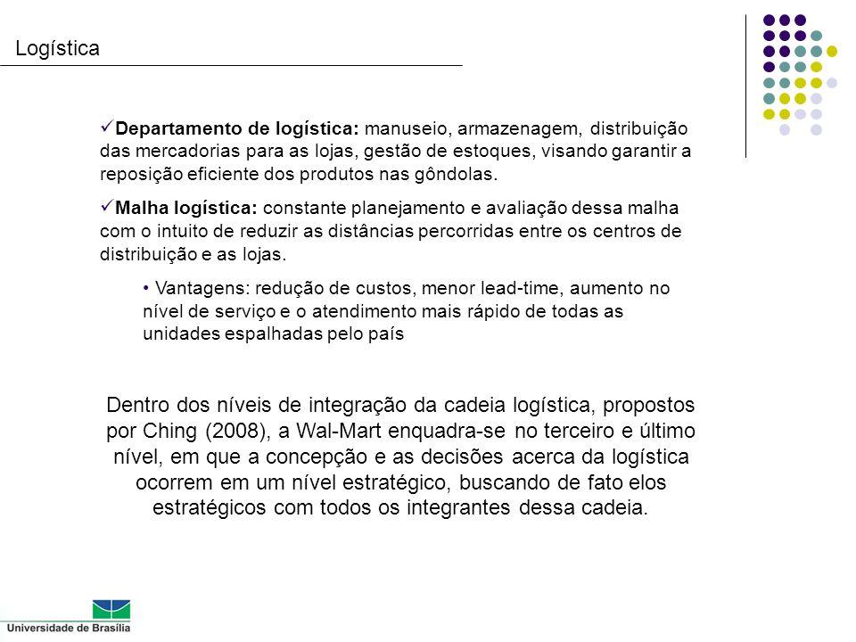 Logística Departamento de logística: manuseio, armazenagem, distribuição das mercadorias para as lojas, gestão de estoques, visando garantir a reposiç