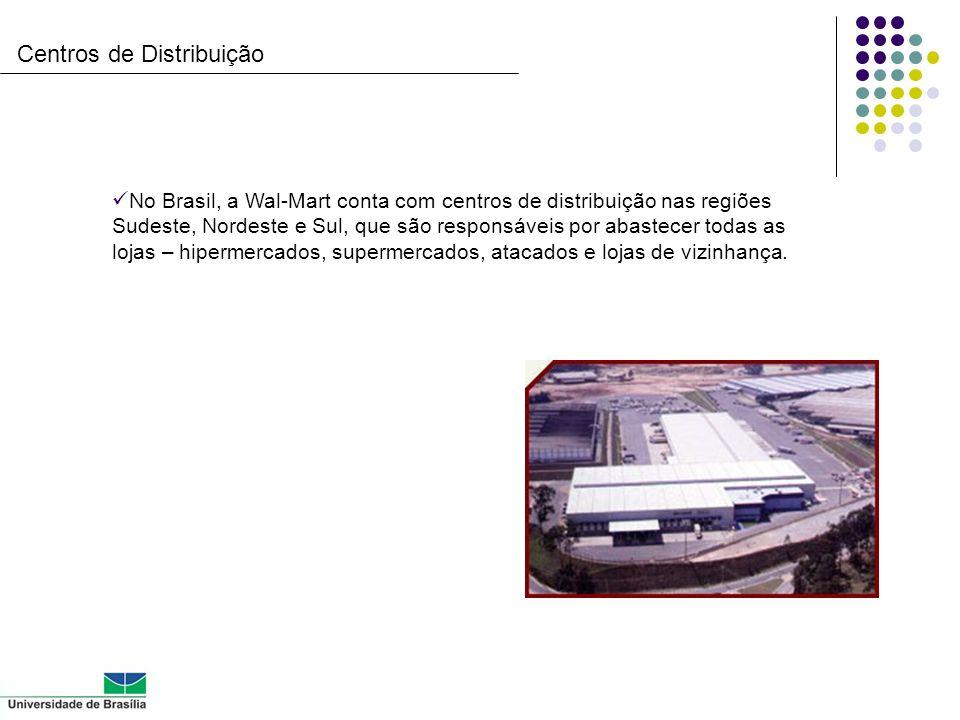 Centros de Distribuição No Brasil, a Wal-Mart conta com centros de distribuição nas regiões Sudeste, Nordeste e Sul, que são responsáveis por abastece