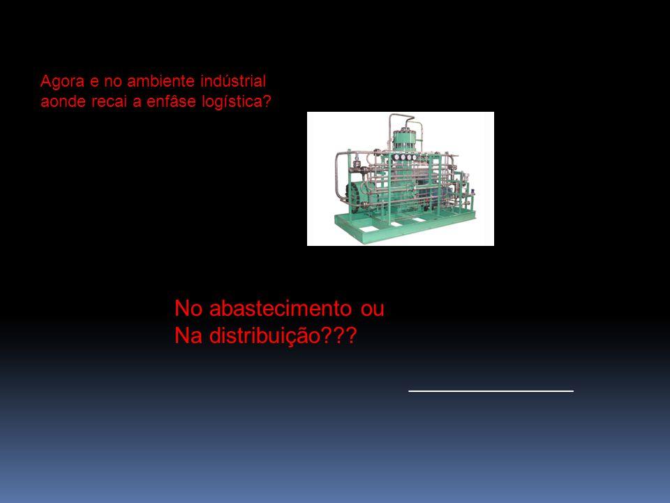 Agora e no ambiente indústrial aonde recai a enfâse logística? No abastecimento ou Na distribuição??? __________________