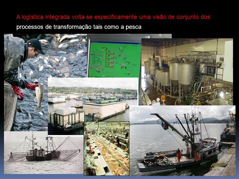 A logística integrada volta-se especificamente uma visão de conjunto dos: processos de transformação tais como a pesca