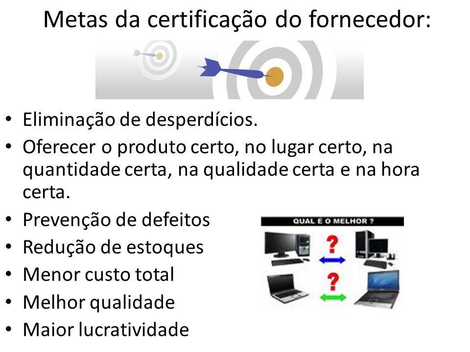 Metas da certificação do fornecedor: Eliminação de desperdícios. Oferecer o produto certo, no lugar certo, na quantidade certa, na qualidade certa e n