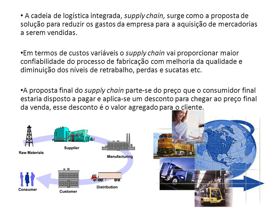 A cadeia de logística integrada, supply chain, surge como a proposta de solução para reduzir os gastos da empresa para a aquisição de mercadorias a se